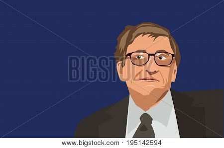 Famous entrepreneur Bill Gates vector portrait on a blue background