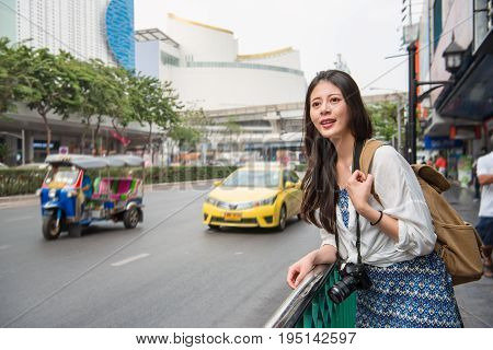 Asian Woman With Tuk Tuk Car In Thailand.