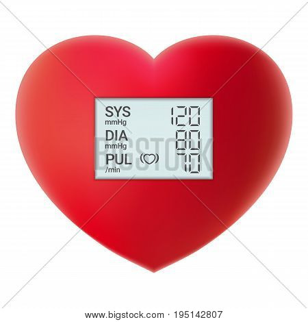 Arterial Blood Pressure Checking Concept. Digital Tonometer On Red Heart Isolated On A White Background. Realistic Vector Illustration. Healthcare