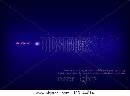 Vector illustration, abstract purple banner with neon spotlight, flashlight, light beam white sparks. Design element for advertising poster