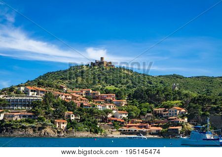 Fort saint Elme and houses by the sea in Collioure France