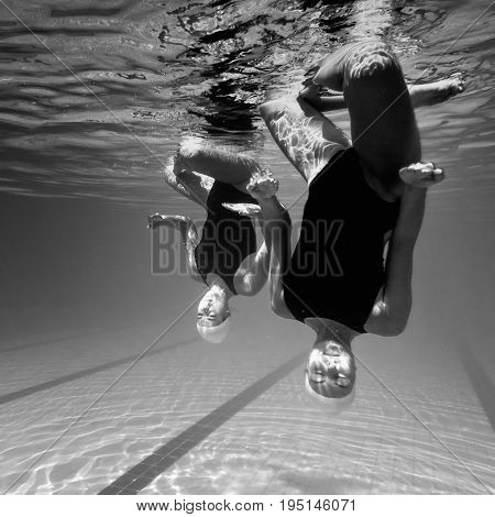 Synchronized Swimming Underwater, Black And White Image, Square Image