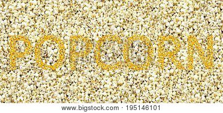 bright golden inscription of the grain on a white background popcorn