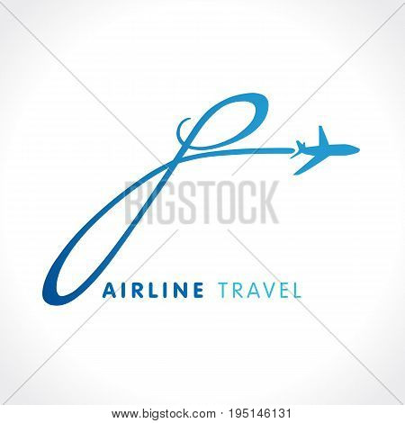 P letter travel company logo. Airline business identity travel icon design with emblem
