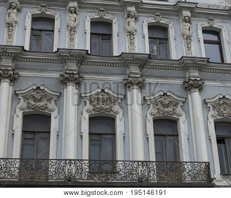 Beautiful historic building. Balconies, sculpture. Architecture Nevsky Prospekt. Saint-Petersburg Russia