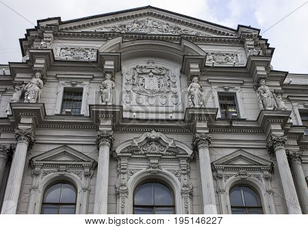 Architecture of the 19th century. Sculptures decorate the house on Nevsky Prospect. Saint-Petersburg, Russia. Autumn 2015