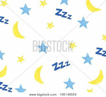 Watercolor background made of hand-drawn moon, stars and zzz sign