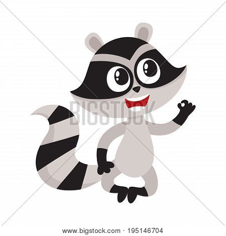 Cute little raccoon character sitting in lotus pose showing okay, ok gesture, cartoon vector illustration isolated on white background. Funny little raccoon showing okay, ok, sitting in lotus position