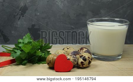 Quail eggs with milk and parsley - omega 3 and omega 6/ Foods containing omega 3  and omega 6 acids.