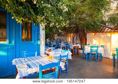 CYPRUS AYIA NAPA - SEPTEMBER 25 2016: classic Cypriot taverna.