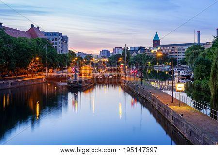 Spree River in Berlin at dawn, Germany
