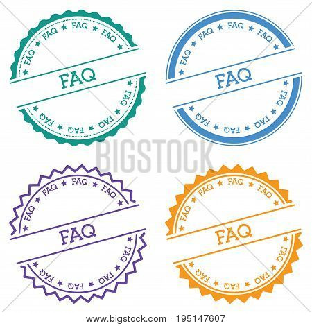 Faq Badge Isolated On White Background. Flat Style Round Label With Text. Circular Emblem Vector Ill