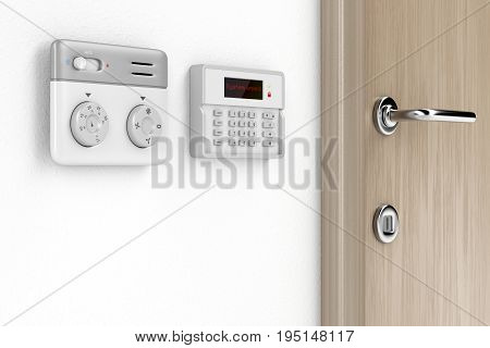 Room temperature and alarm control panels, 3D illustration