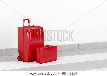 Red suitcase and briefcase at the airport, 3D illustration