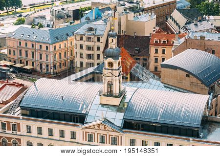 Riga, Latvia. Top Aerial View Of Famous Landmark - Old Riga City Hall In Sunny Summer Day