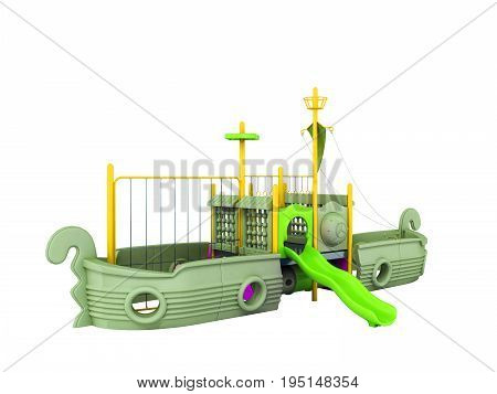 Playground For Children Ship Yellow Lime Violet 3D Render On White Background No Shadow
