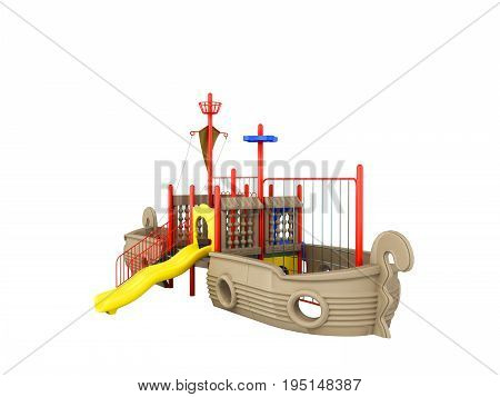 Playground For Children Ship Red Yellow Blue 3D Rendering On White Background No Shadow