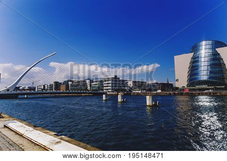 DUBLIN IRELAND - 12th July 2017: view over the Liffey river and the Samuel Beckett bridge in Dublin