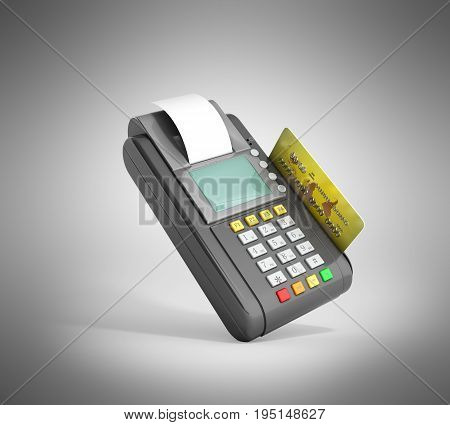Credit Card Trminal Machine 3D Rendering On Grey