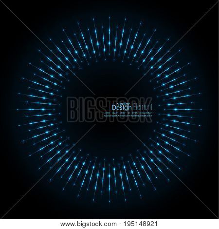 Abstract techno background with rays with glowing particles. Tech design. Lights vector frame. Glowing dots. Round banner of pixels. Geometric Shapes. blue, cerulean, cobalt, sapphire, ultramarine