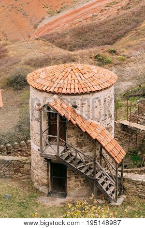 Sagarejo Municipality, Kakheti Region, Georgia. Old Tower In Ancient Rock-hewn Georgian Orthodox David Gareja Monastery Complex. Monastery Is Located Is Southeast Of Tbilisi