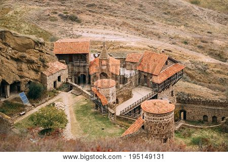Sagarejo Municipality, Kakheti Region, Georgia. Aerial View Of Ancient Rock-hewn Georgian Orthodox David Gareja Monastery Complex. Monastery Is Located Is Southeast Of Tbilisi. 6th . Hundreds Of Cells, Churches.