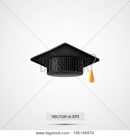 Realistic Graduation Hat. Isolated On White. Vector Illustration. Education Cap. Academic Uniform El