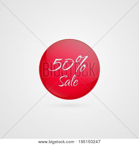50 percent off vector circle icon. Red and white isolated discount symbol. Illustration sign for sale advertisement marketing project business retail wholesale shopping commerce finance label
