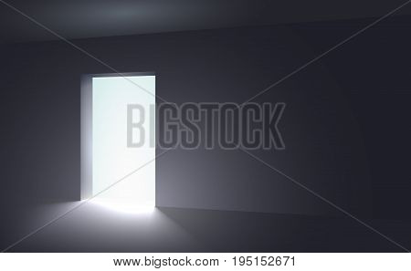 An open space from which appears light in a dark room. Abstract interior in vector graphics