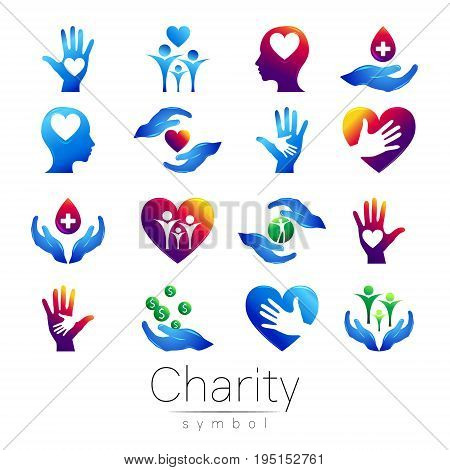 Vector illustration. SET Symbol of Charity. Sign hand isolated on white background.Blue Icon company, web, card, print. Modern bright element. orphans Help kids campaign. Family children.
