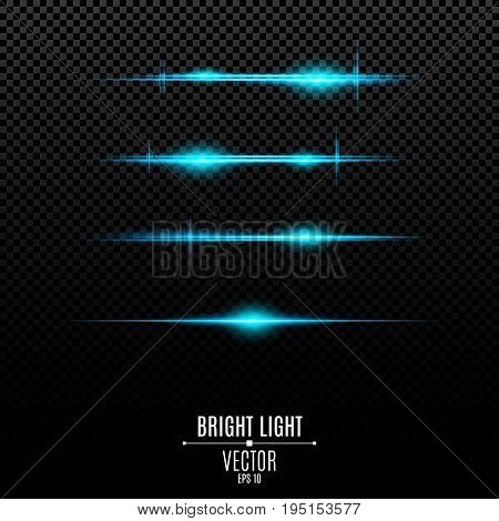 Abstract blue lights on a transparent background. Bright flashes and glare of blue. The effect of the camera. Light vibration. Glowing lines. Vector illustration