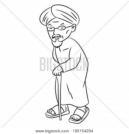 Hand drawn sketch of Malay Grandfather Character Cartoon isolated Black and White Cartoon Vector Illustration for Coloring Book - Line Drawn Vector.