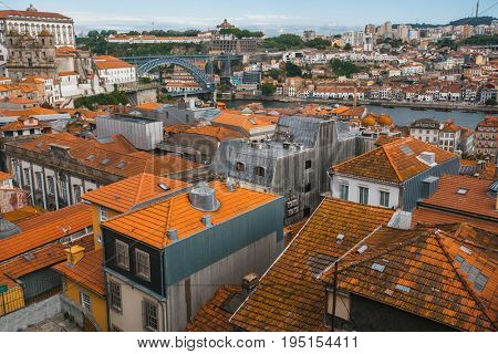 Bird's-eye view old downtown of Porto, Portugal.