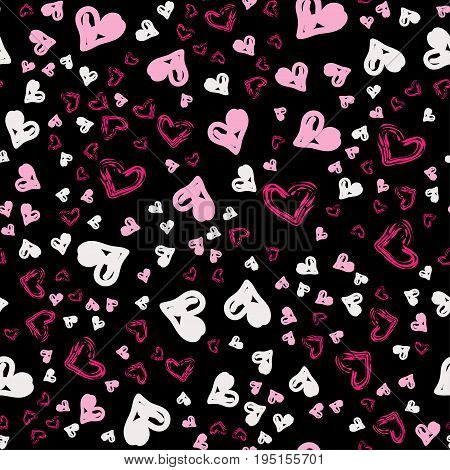 Cute Pattern For Kids, Girls And Boys. Creative Vector Background Is Made Up Of Hearts And Flowers.
