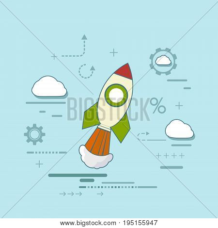 Rocket is flying in the clouds. Creative and success in a business startup. Conceptual ideas and scientific discoveries. Stock vector illustration.