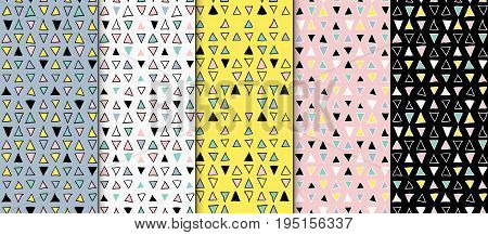 Abstract geometric seamless hand drawn pattern set. Modern free hand textures. Colorful geometric doodle backgrounds. Semless backdrops.