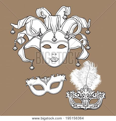 Set of three decorated Venetian carnival masks with feathers and bells, sketch style vector illustration isolated on brown background. Realistic hand drawing of carnival, Venetian masquerade masks