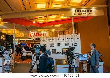Singapore - June 17 2014 Digital TV and Broadcasting technology Exhibition held at Marina Bay Sands in Singapore