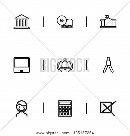 Set Of 9 Editable Education Icons. Includes Symbols Such As Dividers, Building, Notebook And More. Can Be Used For Web, Mobile, UI And Infographic Design.