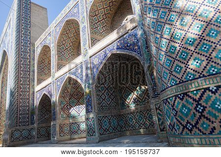 Color image with a madrasa entrance in Bukhara Uzbekistan.
