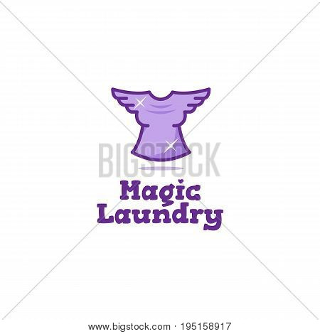 Creative laundry logo. Flying t-shirt with wings dry cleaning symbol