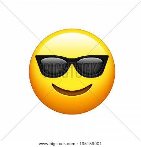 Emoji Yellow Face With Black Sunglass And Smile Icon