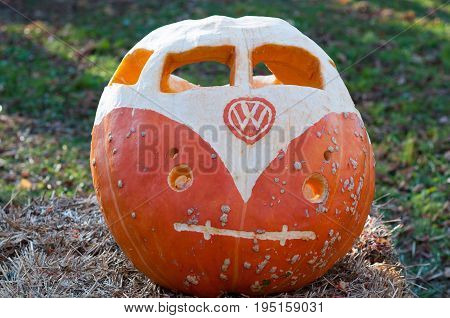 CHADDS FORD, PA - OCTOBER 26: View of VW Volkswagon Pumpkin at The Great Pumpkin Carve carving contest on October 26, 2013
