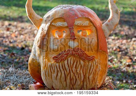 CHADDS FORD, PA - OCTOBER 26: View of Viking Pumpkin at The Great Pumpkin Carve carving contest on October 26, 2013