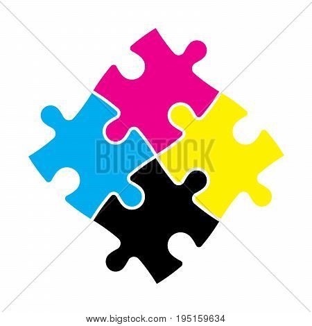 Four jigsaw puzzle pieces in CMYK colors. Printer theme. Vector illustration.