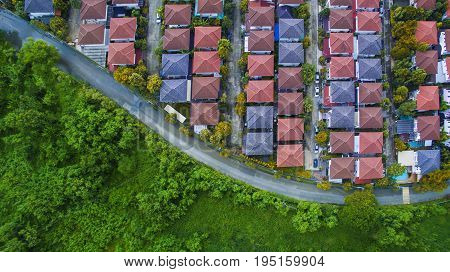 aerial view of good environmental home village and green space of natural field