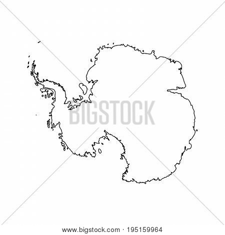Map of Antarctica. Black outline. High detailed vector illustration isolated on white background.