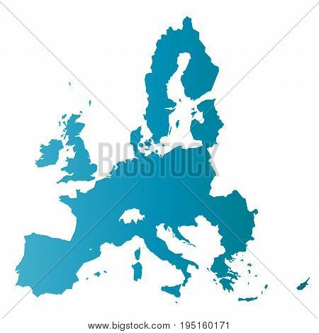 European Union territory. Blue gradient silhouette isolated on white background. Map of EU. Vector illustration.