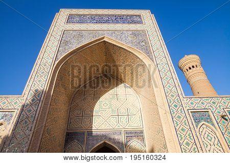 Image of the Mir-i-Arab Medressa in Bukhara Uzbekistan.