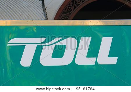 MELBOURNE AUSTRALIA - JUNE 30, 2017: Tall logistic company. Toll provides integrated logistics solutions across the Asia Pacific region.
